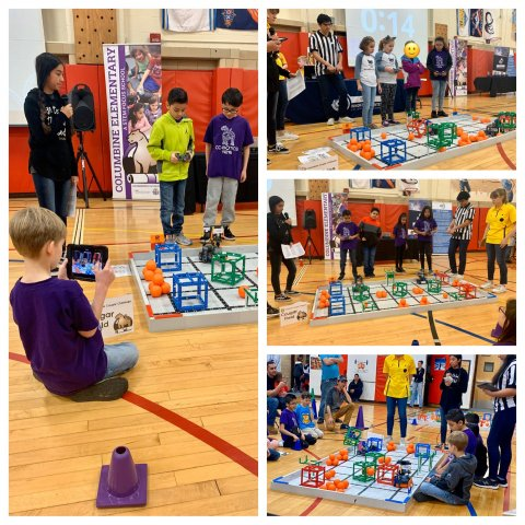 image collage of students competing in VEX Robotics
